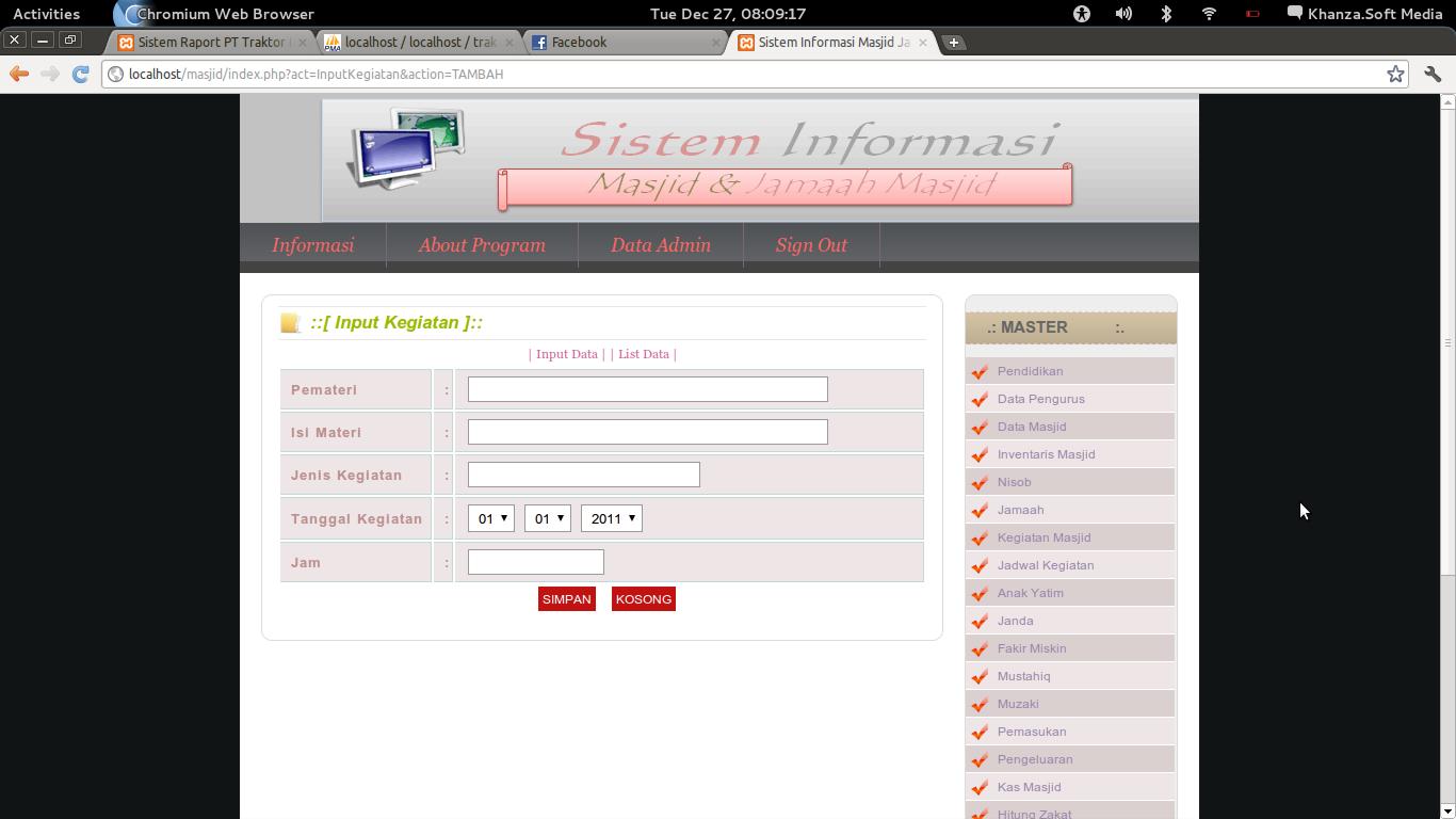 Software Pengolah Data Masjid & Jama'ah Masjid(Gratis